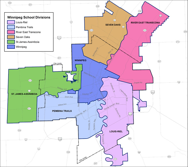 Winnipeg School Divisions Map